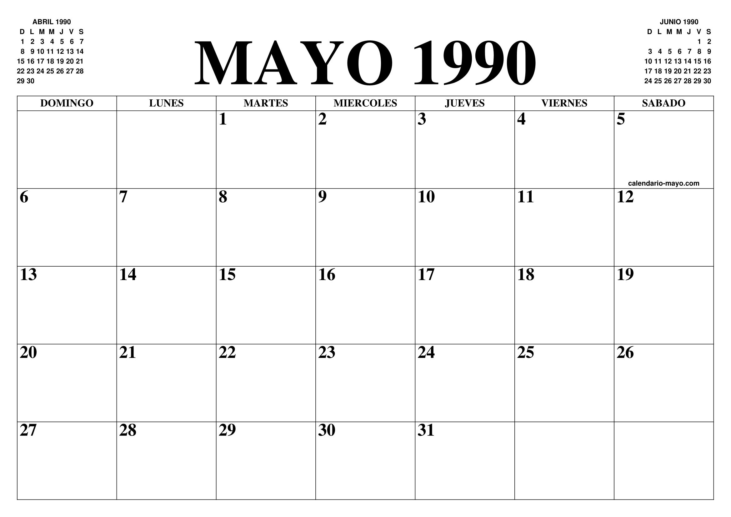 1990 Calendario.Calendario Mayo 1990 El Calendario Mayo Para Imprimir