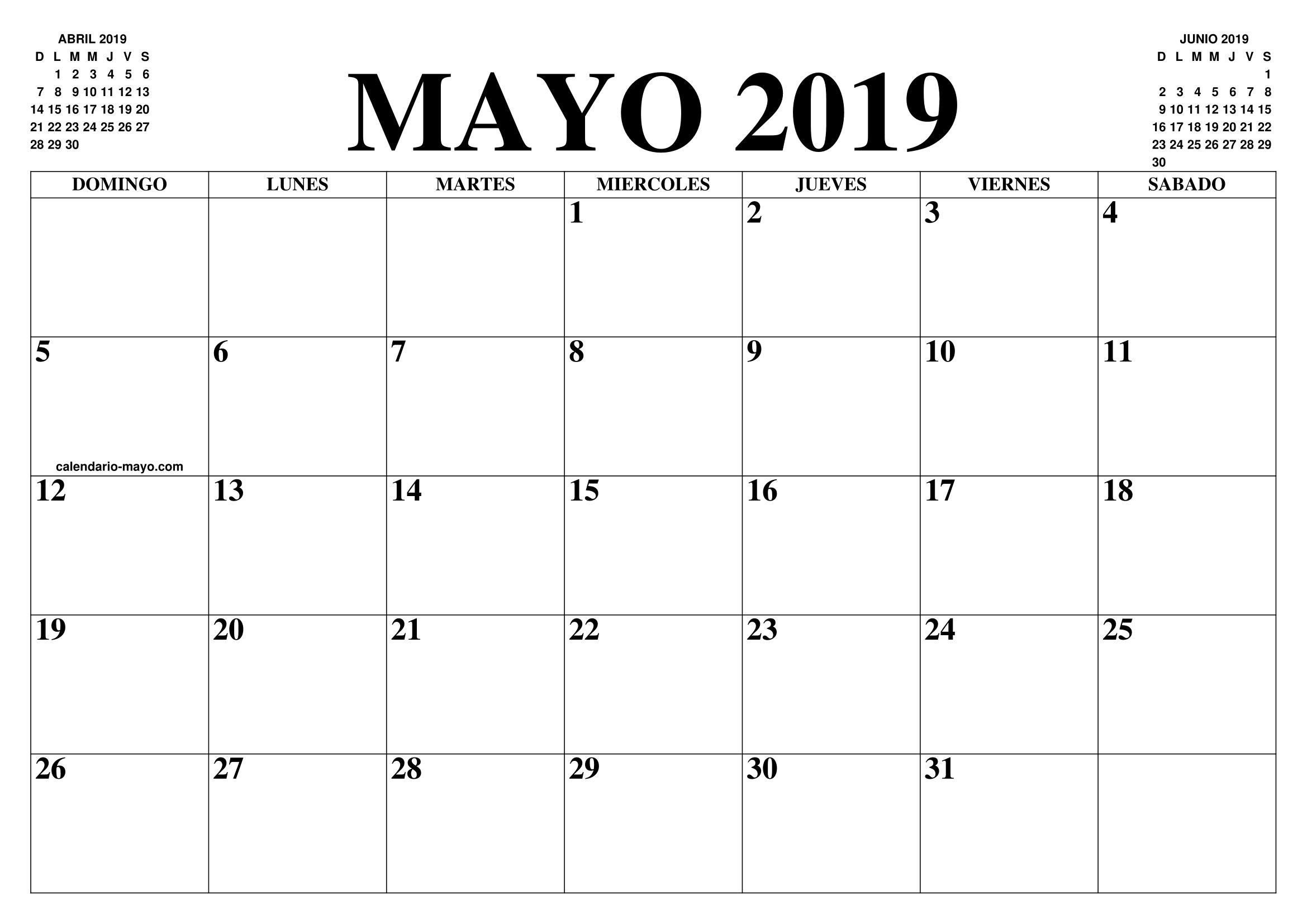 Calendario Abril Y Mayo 2019.Calendario Mayo 2019 2020 El Calendario Mayo 2019 2020 Para
