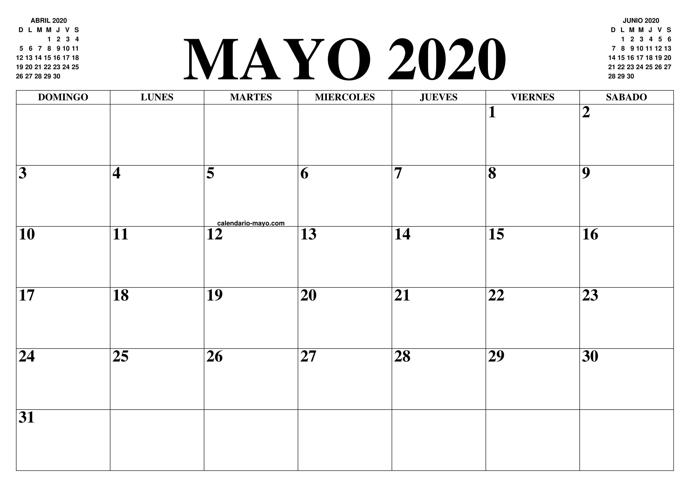 Calendario Junio 2020 Pdf.Calendario Mayo 2020 El Calendario Mayo Para Imprimir Gratis Mes